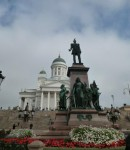 Helsinki Lutheran Cathedral with the statue of Emperor Alexander II of Russia in the front.