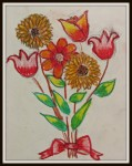 art by kids flowers in oil pastels
